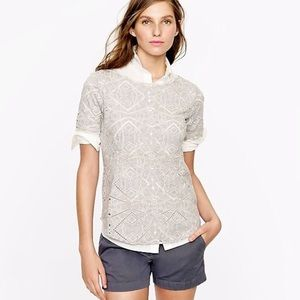 J.Crew White Geometric Eyelet Top XXS